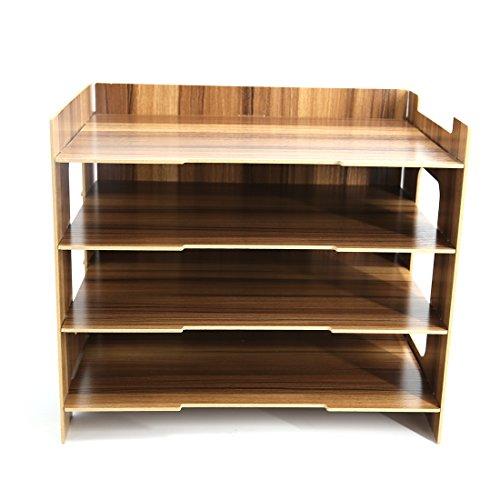Tosbess Holz Schreibtischorganizer Tisch Organizer Büro Fernbedienung Box Organisation Aufbewahrungsbox Schreibtisch mit 4 variablen...