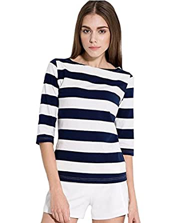 Camii mia women 39 s 3 4 sleeves cotton stripe t shirt large for Black and white striped long sleeve shirt women