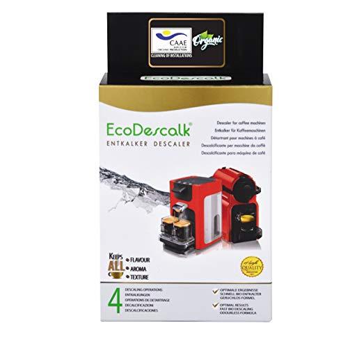 EcoDescalk Biologico in Polvere, 4 Sacchetti. Decalcificante 100{461d0c979944540b4ffe93caa66a64fc75828ccd39349b7b2f9674ef27ca7457} Naturale. Detergente per Macchine da caffè. Tutte Le Marche: Bosch, Nespresso, DeLonghi, Tassimo. 4 Decalcificazioni. Prodotto CE.