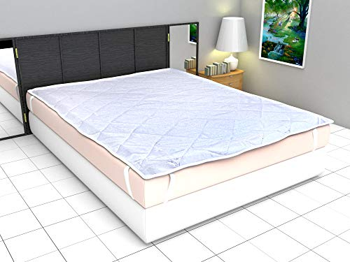 Ronak Sales Polyester Waterproof Double Size Mattress Protector Bed Cover- 182x198 cm, White