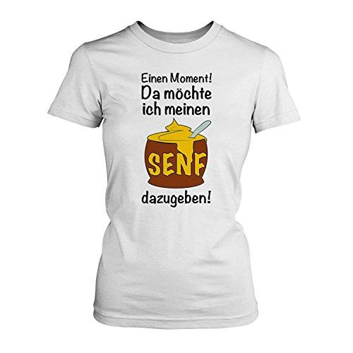 Einen Moment! Da möchte ich meinen Senf dazugeben! - Damen T-Shirt von Fashionalarm | Fun Shirt Spruch Spaß Besserwisser Alleskönner Angeber Ego Motto lustig, Farbe:weiß;Größe:5XL