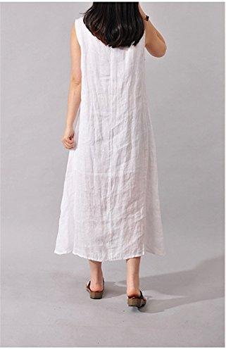 Womens Retro style chinois sans manches en vrac d'encre Impression Coton Robe en lin Blanc