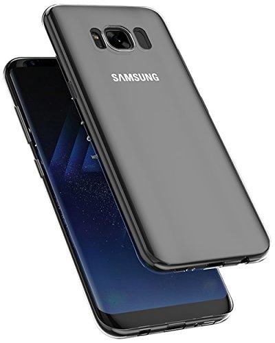 COVERbasics AIRGEL 0.3mm per Samsung Galaxy S8 SM-G950 con Bordo Proteggi Fotocamera Cover Custodia Morbida Trasparente Silicone Gel Gomma TPU Flessibile Sottile Fina Invisibile Ultra Thin Slim