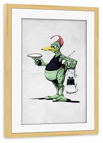 artboxONE Poster mit Rahmen Kiefer 75x50 cm Space Duck von Rob Snow - gerahmtes Poster -