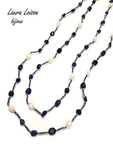 Laura loison - collana donna lunga con perle e pietre naturali