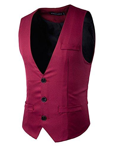 YCHENG Herren Anzugweste Freizeit Business Casual Weste Einfarbig Rot