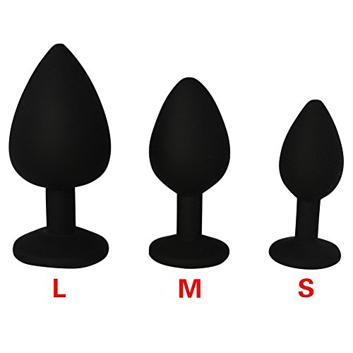 iEFiEL Deluxe Analplug Buttplug Silikon Schwarz mit Kristall Lust Sexspielzeuge 30mm 35mm 40mm (S, Blau) - 3