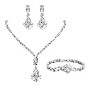 EVER FAITH Damen Full CZ Marquise geformte Blatt Teardrop Halskette Ohrringe Armband Set Klar Silber-Ton