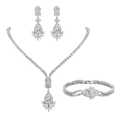 Flyonce Frauen Full CZ Marquise Geformte Blatt Teardrop Halskette Ohrringe Armband Set Klar Silber-Ton