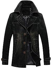 cfzsyyw Mens Vintage Washed Lapel Collar Denim Jeans Jacket Trench Coat