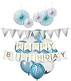 My Pinata Deko Geburtstag Junge, Geburtstag Dekoration Set in Blau für Jungs, Party Deko mit Happy Birthday Girlande, Konfetti Luftballons, Blau und Mamor Luftballons