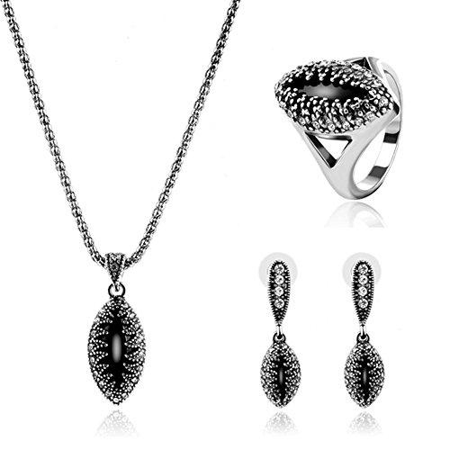 Ladies Sommer heiße hochwertige Legierung Schmuck drei-Stück Halskette Ohrringe Ring Hochzeit Schmuck Set , ancient silver /61163094 (Hochzeit Ring 3 Stück Set)