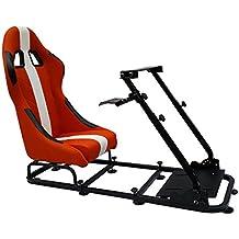 FK-Automotive Game Seat Spielsitz für PC und Spielekonsolen Kunstleder orange/weiß