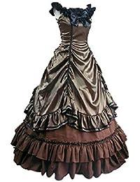 lancoszp Vestido Largo Lolita Princess para Mujer Traje Plisado con Gradas Victoriana Medieval Gotico