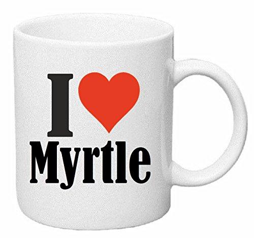 Reifen-Markt Kaffeetasse I Love Myrtle Keramik Höhe 9,5cm ? 8cm in Weiß