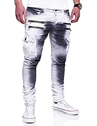 MT Styles Zipper style Biker Jeans Slim Fit Camouflage pantalon homme RJ-3196