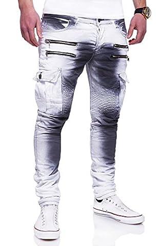 MT Styles Zipper Biker Jeans Slim Fit Camouflage Hose RJ-3196-3 [Weiß, W34/L32]