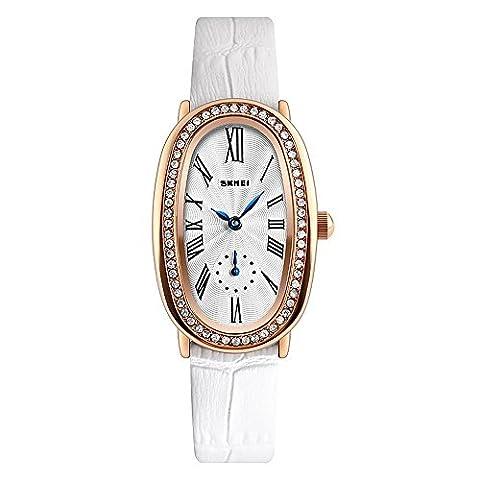 Longqi montre montres de luxe ovale Coque strass Cadran Chiffres romains Cuir PU montre à quartz pour femme