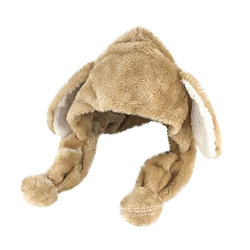 VRTUR Beweglicher Ohr-Kaninchen-Hut, Plüsch Bunny Ohren Stirnband Halloween Tier Ostern Cosplay Kaninchen Häschen-Hut-Kappe mit Den Ohren Karneval(One size,Beige)