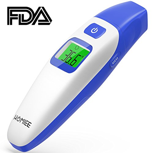 HOMIEE Fieberthermometer Ohrthermometer Stirnthermometer Digital Infrarot Thermometer, Fieberwarnung, Hintergrundbeleuchtungsanzeige, Sofortlesung, Speicherabruf und CE/FDA Zertifiziert (Blau)