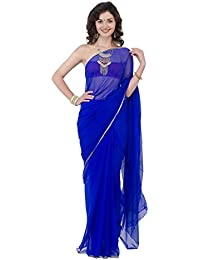 9a94b74689 Naira Couture Light Weight With Zari Pipping Chiffon saree Color Blue