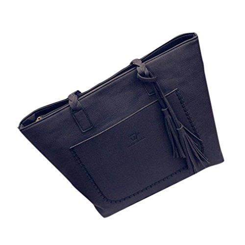 Bolsos Para mujer, RETUROM Bolso grande de la borla de las mujeres para el negocio o el estudiante. (Negro)