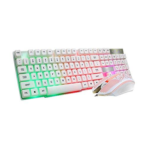 Alimao Boutique Gaming-Tastatur und Maus mit bunten Knack-LED-Beleuchtung, USB, verkabelt, Regenbogenfarben schwarz weiß Medium