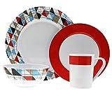 Moritz Tiffany Design Tafelgeschirr aus Melamin Campinggeschirr Geschirr 16-teilig für 4 Personen (Design/Farbe wählbar) Picknickgeschirr (Tiffany)