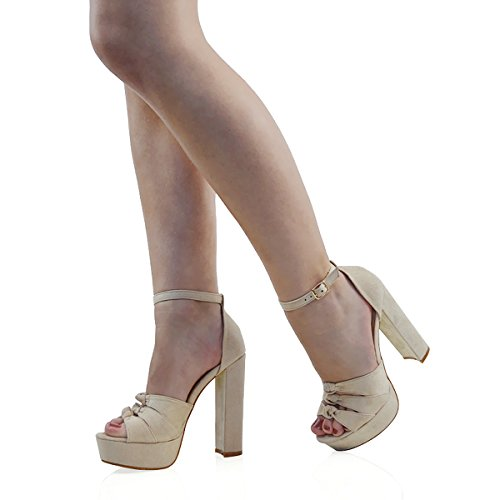 ESSEX Glam Damen Wildlederimitat knöchelriemen plateau cut out hohe blockabsatzschuhe NUDE FAUX SUEDE