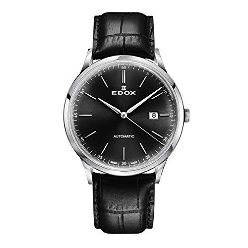 EDOX Reloj Analogico para Hombre de Automático con Correa en Cuero 80106-3C-NIN