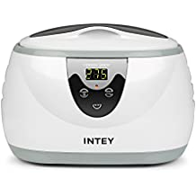 INTEY Ultrasonic Cleaner Ultrasonic Jewelry Cleaning Machine 42KHz with Cleaning Basket, Watch Stand , Digital Timer and Degas Function, 600ml