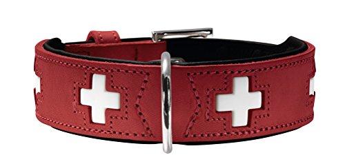 HUNTER Swiss Halsband für Hunde, Leder, hochwertig, schweizer Kreuz, 55, rot/schwarz