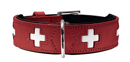 HUNTER Hundehalsband Swiss, Collier de chien en cuir, 37, Rouge/Noir