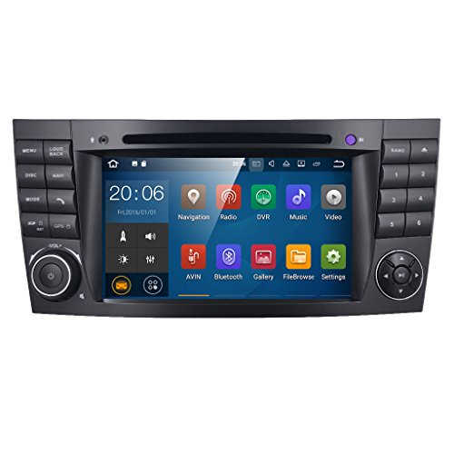7 Zoll 2 Din Android 7.1.1 Nougat 2GB RAM Quad Core Autoradio Moniceiver DVD GPS Bluetooth Navigation für Mercedes-Benz E-W211/E200/E220/E240/E270/E280,CLS-W219/CLS350/CLS500/CLS55,CLK-W209