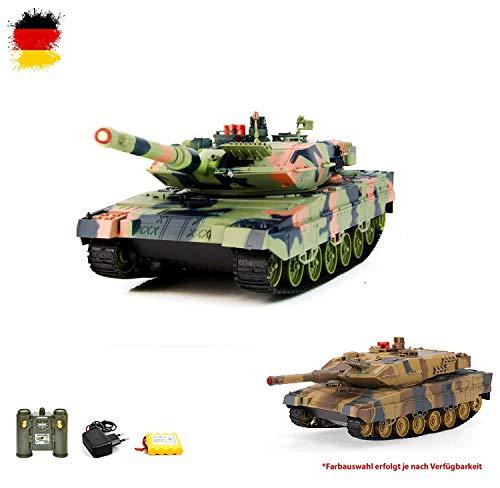 RC ferngesteuerter German Leopard II A5 Panzer 2.4GHz Edition Tank Militär-Fahrzeug Modell, Gefechtmodi, Schusssimulation, Sound und Beleuchtung, Neu (Lang Motor Airsoft)