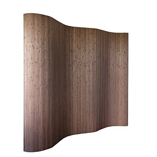 *Homestyle4u 301, Raumteiler Bambus, Wellenform Rollbar, Dunkelbraun Matt, BxH 250×200 cm*