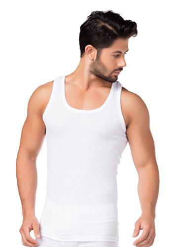 4er-Pack Herren Tank-Top Doppelripp-Unterhemden Weiß 100 % reine Baumwolle Achselhemd Unterwäsche Übergröße stylenmore Größe 6