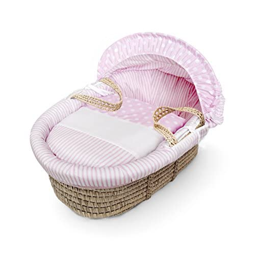 Pink Spots & Stripes Moses Basket Dressings only(Basket not included)  Elegant Baby