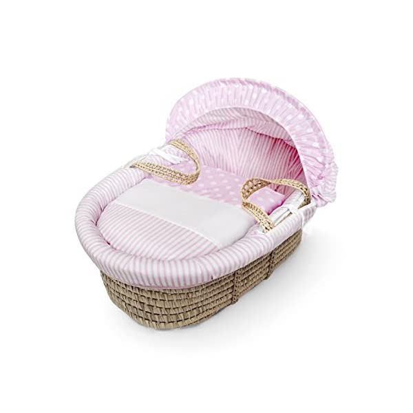 Pink Spots & Stripes Moses Basket Dressings only(Basket not included) Elegant Baby Dressings For Moses Baskets Includes Padding,Quilt, Liner,Fabric Hood Basket and Mattress and Hood bars are NOT included 1