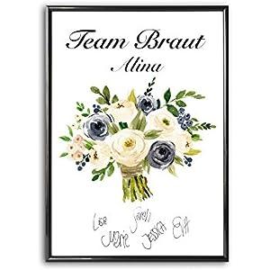 Personalisiertes Bild Brautstrauß | Brautjungfern Trauzeugin Gästebuch Erinnerung JGA Team Braut