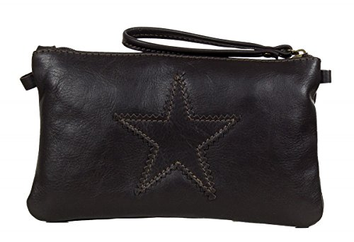 Petite pochette star italienne sac à bandoulière en cuir nappa souple - petit (23 x 14 x 2,5 cm) Marron Foncé