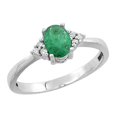Revoni 14ct White Gold Natural Emerald Ring Oval 6x4mm Diamond Accent