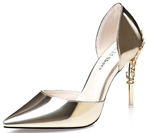 Aisun Damen Sexy Spitz Zehe Ohne Verschluss Sandalen Mit Speziell Stiletto Gold