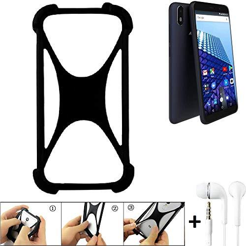 K-S-Trade Handyhülle für Archos Access 57 Schutzhülle Bumper Silikon Schutz Hülle Cover Case Silikoncase Silikonbumper TPU Softcase Smartphone, schwarz (1x), Headphones