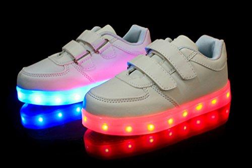 E Support Unisex Kinder Jungen Mädchen LED Schuhe Leuchtend Sneaker Blinkschuhe Farbwechsel USB Aufladen Fluorescence Sportsschuhe Turnschuhe Weiß