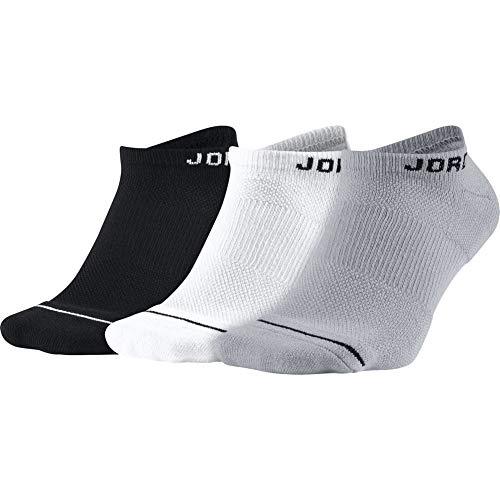 Nike U J Everyday MAX NS 3PR Socks, Black/White/Wolf Grey, M -