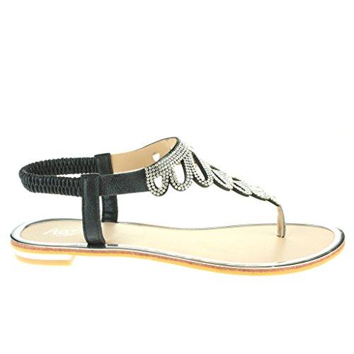 Frau Damen Diamante Zehenpfosten Slingback Sommer Strand Open Toe Beiläufige Party Komfort Flache Sandale Schuhe Größe Schwarz