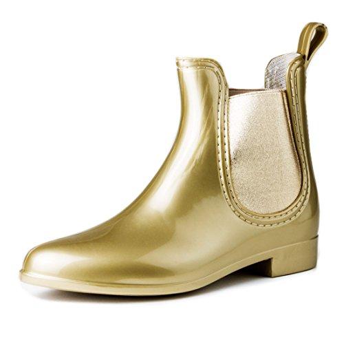 330b6e74e941f Damen Schlupf Gummistiefel Chelsea Boots Lack Stiefeletten Gold
