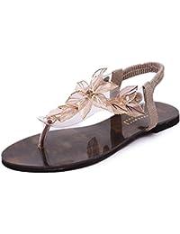 Minetom Mujer Verano Sandalias Transparente Hoja Flor Zapatos De La Playa Chancletas Sandalias