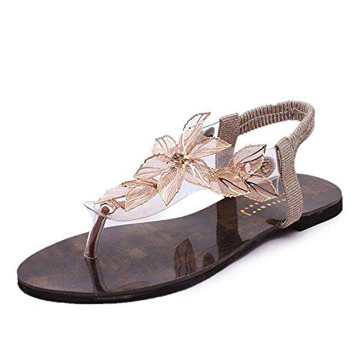 Minetom Mujer Verano Sandalias Transparente Hoja Flor Zapatos De La Playa Chancletas Sandalias Dorado 38